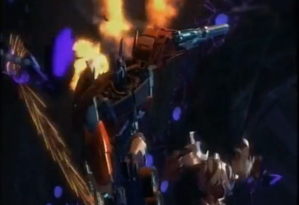 Optimus Prime and Megatron fight back-to-back inside Unicron's body